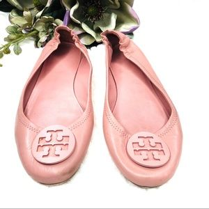 TORY BURCH 'Minnie' Travel Ballet Leather Flats